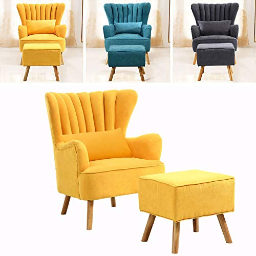 INMOZATA Armchair with Footstool Yellow Linen Fabric Occasional Accent Chairs Stunning Shell Wingback Tub Chair with Wood Legs for Living Room Bedroom Lounge (Yellow)