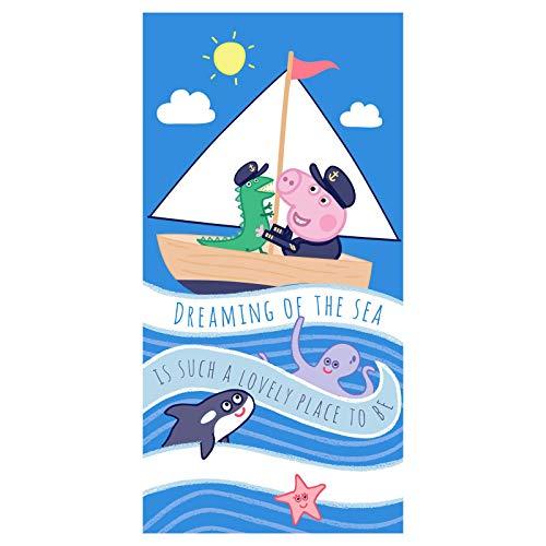 Carbotex Peppa Pig Badetuch Jungen Handtuch Strandtuch Duschtuch 70x140 Baumwolle Kapitän George Peppa Wutz Kinder Badehandtuch