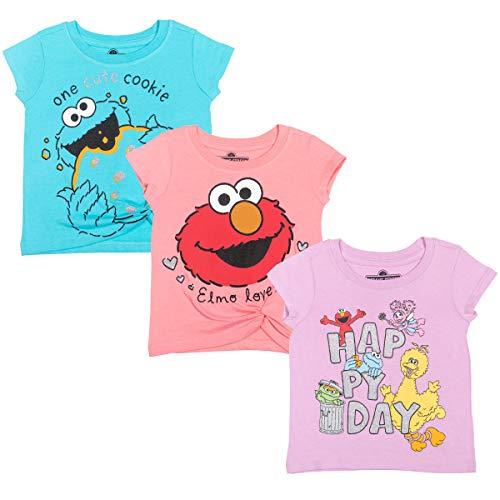 Sesame Street Elmo Cookie Monster Big Bird Little Girls 3 Pack T-Shirt 6-6X Pink/Blue