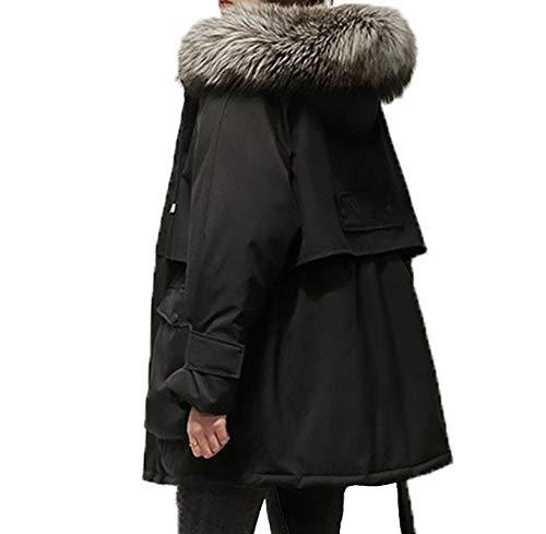Doudoune Longue Femme Doudoune Fourrure Doudoune à Capuche en Fourrure Parka Femmes,Black,XL