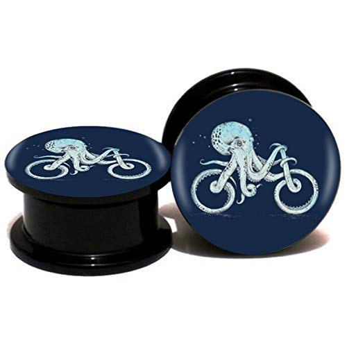 5pairs/set Octopus And Bike Ear Gauge Plug And Tunnel Doubled Flared Stretcher Expander 6-25mm Screw Fit Plug Piercing