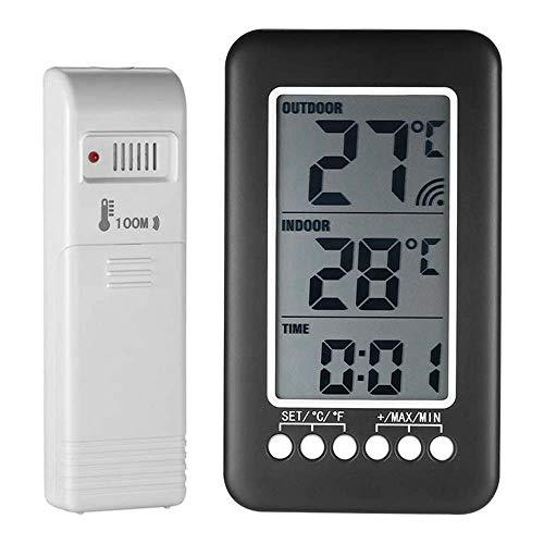 """Temperatur Zeit Uhr, LCD Monitor Â""""ƒ/ Â""""‰ Digital Kabellos Innen Außen Thermometer Mit Sender Uhr Temperatur Meter Glashaus Reptil Wein Keller"""