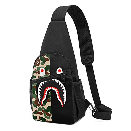Kisdrop B-Ape Shark Chest Crossbody Sling Backpack Bag Single Shoulder Chest Pack with USB Charging Port