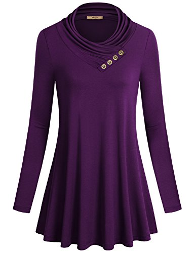 Flowy Dress,Miusey Long Sleeve Cowl Neck Loose Fit Comfy Swing Tunic Casual Top Purple Medium