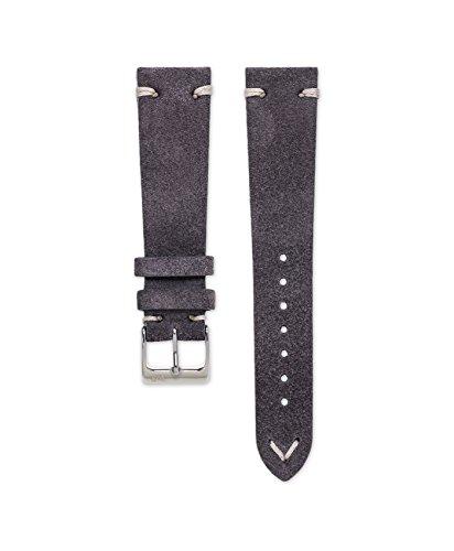 Wildleder Uhrarmband Vintage Dunkelgrau (20 mm)