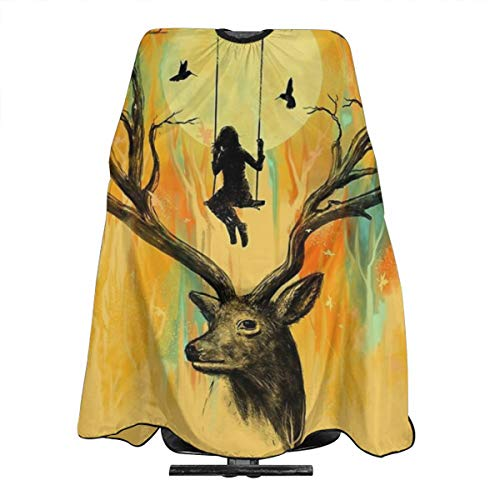 JinSPef Peluquería Capa Playmate Deer Trees Girl Play On A Swing Barber Suministros Herramienta Set Salon Hair Cutting Cloth Delantal Capa Peluquería Capas 55 X 66 in
