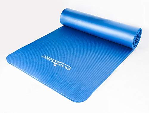 alfombra de suelo para yoga, pilates, deporte, gimnasia, fitness, musculación – 12 mm, 189 cm x 62 cm – con correa y bolsa de transporte – Atención: alfombra nueva pero dañada durante el transporte