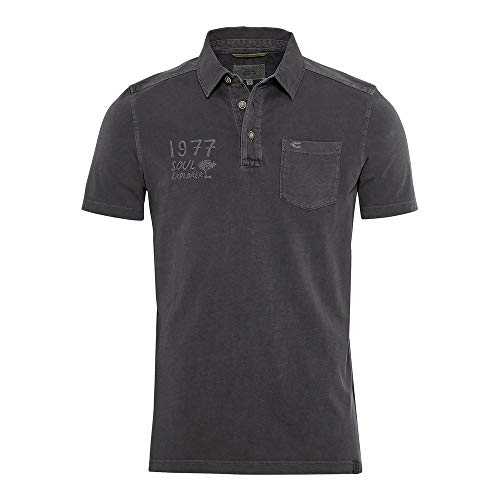 camel active Herren Polo Halbarm Polohemd, Dark Grey, XL