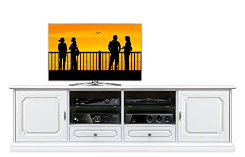 Arteferretto Meuble Banc TV Grandes Dimensions 200 cm, avec étagères réglables, en Bois laqué, livré monté