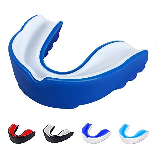 Cosowe Sports Mouth Guard, Adult Youth Mouthguard for Karate, Flag Football, Martial Arts, Rugby, Boxing(BPA Free) (White Blue, Adult (Age 10 & Above))