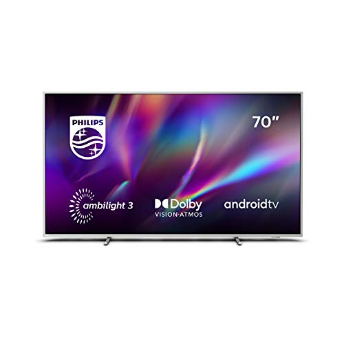 Philips TV Ambilight 70PUS8505/12 70-Zoll LED TV (4K UHD, P5 Perfect Picture Engine, Dolby Vision, Dolby Atmos, HDR 10+, Sprachassistent, Android TV) Hellsilber [Modelljahr 2020]