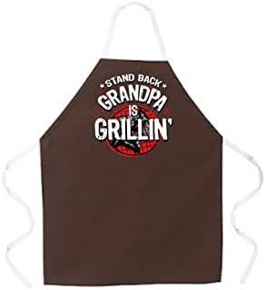 "Attitude Aprons Fully Adjustable ""Stand Back, Grandpa is Grillin"" Apron, Brown"