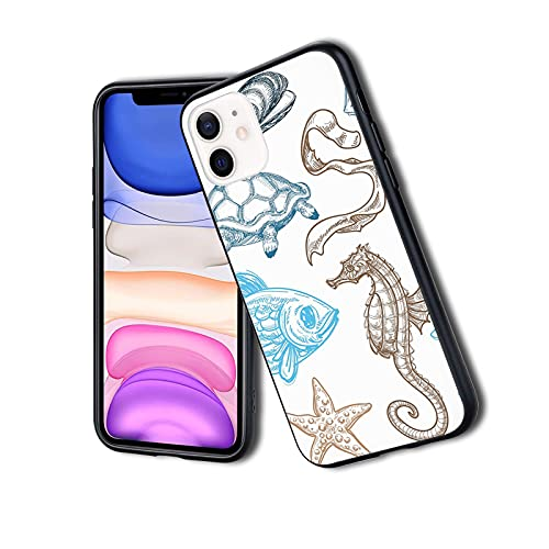 Underwater Marine Life Aquatic Fish Shell medusas Oyster Squid Seahorse Motif, funda para teléfono iPhone 11Pro Max, funda protectora de gel de silicona TPU ultra delgada y ligera