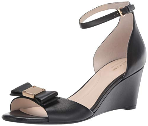 Price comparison product image Cole Haan Women's TALI Grand Bow Wedge Sandal,  Black Leather,  8.5 B US