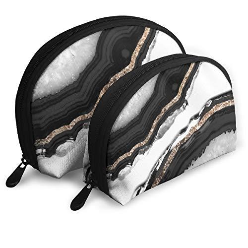 Agata Glitter Glam Gem Decor Art Shell Forma Portátil Bolsas Bolsa de Embrague Bolsa de Cosméticos Unisex Bolsa de Almacenamiento de Viaje Bolsa Multifunción Niño Bolsa de Llaves Bolso 2 Unids