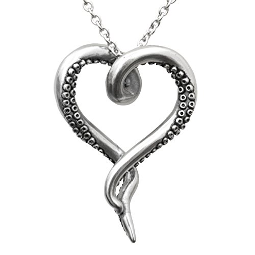 Controse Womens Silver-Toned Heart Shaped Stainless Steel Sea Lover Octopus Necklace 31