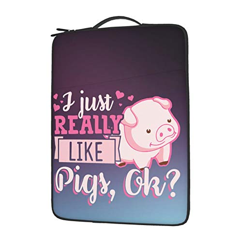 wobzfrok I Just Really Like Pigs Ok Laptop Cover Protective Carrying Case Cover for 13in14in15.6in Lenovo Dell Hp Asus Acer Chromebook, Plush Laptop Bag Inside 15.6 Inch