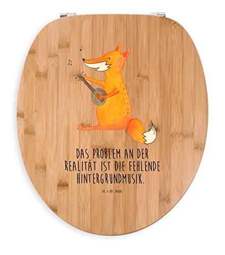 Mr. & Mrs. Panda Klodeckel, Holz, Motiv WC Sitz Fuchs Gitarre mit Spruch - Farbe Transparent