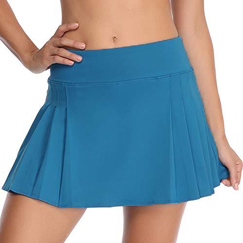 Rainbow Tree Damen-Golfrock, Tennisrock, plissiert, mit seitlichen Innentaschen, für Indoor-Übungen, läuft groß - Blau - Mittel