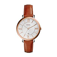 Polished rose-tone watch featuring white dial with Roman numeral indices and small date window 36mm stainless steel case with mineral dial window Quartz movement with analog display Slim leather calfskin band with buckle closure Water resistant to 30...