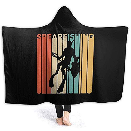 Hirkeld Vintage Style Spearfishing Hooded Blanket Bequeme Decke Flanell Schal Wrap