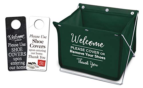 Foldable Shoe Cover Holder (Green) with Bonus Please Use Shoe Covers, Double Sided, Door Hanger