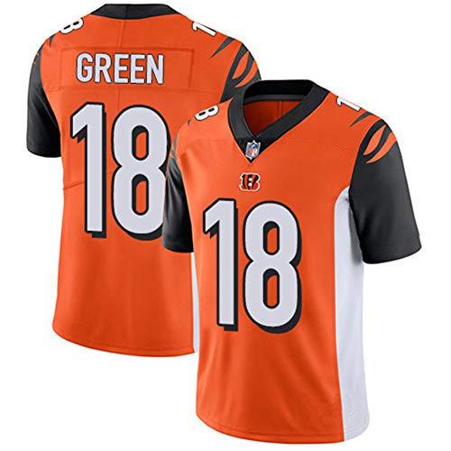 Herren T-Shirt American Football Uniform Cincinnati Bengals #18 Grün Fußball Trikots Gruby Tee Shirts Gr. S, Orange