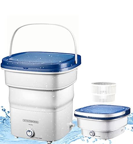 Mini lavadora plegable | Lavadora automática hasta 1,5 kg | Minilavadora de viaje | Lavadora portátil para camping | Potencia: 135 W | Proceso de lavado: < 65 dB | Lavado a máquina pequeña