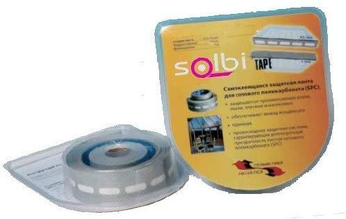 SOLBI Pack Cintas Anti-Polvo Sellado Policarbonato Celular, Incluye 1 rollo cinta ad. perforada + 1 rollo de cinta ciega. Medidas de cada rollo: 6'5m x 25mm, para placas de policarbonato de 6m
