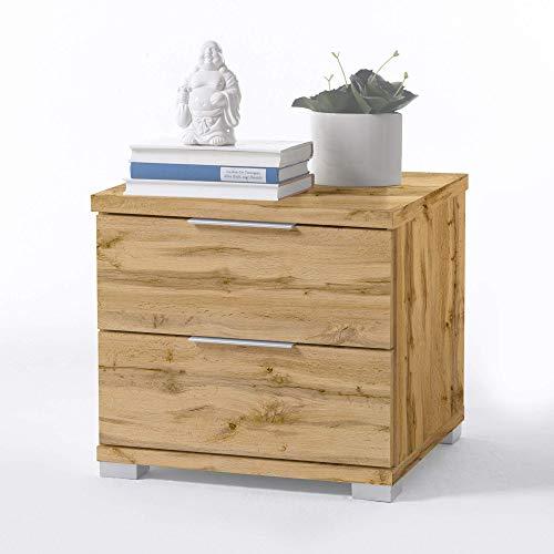 Universal Nachttisch in Wildeiche Optik - Moderner Nachtschrank mit zwei Schubladen für Ihr Bett - 46 x 43 x 42 cm (B/H/T)