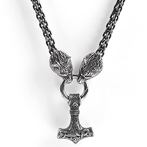 SBRTL Collar de Martillo Thor para Hombre, Acero Inoxidable Vikingo Mjolnir Odin Lobo Celta Colgante Joyería Nórdica Vintage Steampunk Amuleto Joyería,60cm