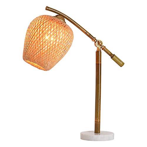 Lámpara de Mesa Rústica de Granja Retro de bambú del tubo de lámpara de mesa hecha a mano con tejido de bambú Pantalla Ajustable Ángulo Lámparas de mesa for el dormitorio de la sala de la familia de l