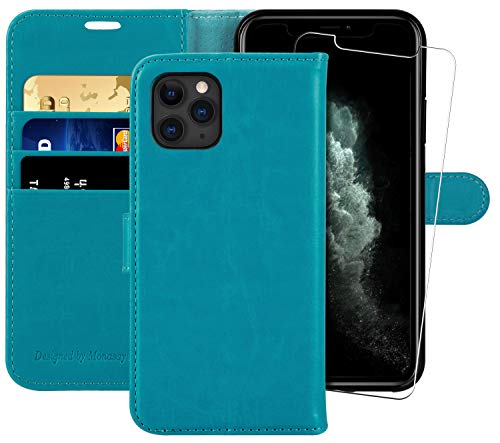 iPhone 11 Pro Wallet Case,5.8-inch,MONASAY [Glass Screen Protector Included][RFID Blocking] Flip Folio Leather Cell Phone Cover with Credit Card Holder for iPhone 11 pro