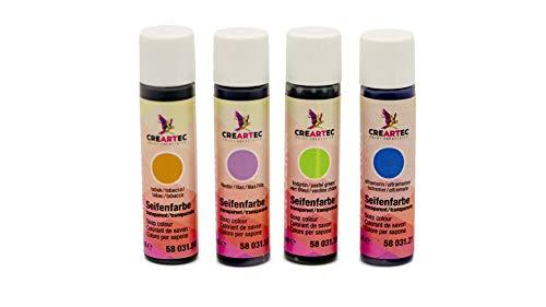 CREARTEC 4er Set Seifenfarben - Sortiment 4 x 10ml transparentes Farbenset - Flieder, Ultramarin, Lindgrün, Tabak - für die individuelle Seifenherstellung - Made in Germany