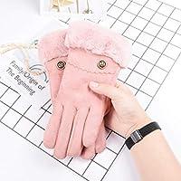 手袋の秋と冬の女性かわいい学生暖かく、ベルベットの厚い耐寒性の5本の指の手袋 (Color : ピンク, Size : F)