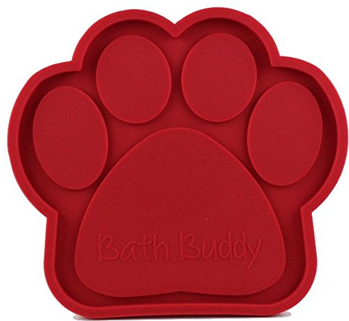 Bath Buddy New for Dogs - The Original Dog Bath Toy - Makes Bath Time Easy, Just Spread Peanut Butter and Stick (Red)