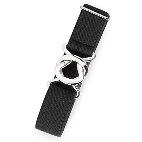 Womens Invisible Belt Comfortable Elastic Adjustable No Show Web Belt Metal Buckle Belt for Men by JASGOOD,2-Black,US Size 0-14