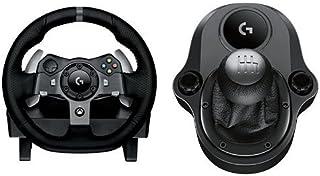 Logitech G920 Driving Force Volante de Cuero de Carreras y Pedales + Palanca de Cambio, Force Feedback, Aluminio Anodizado...