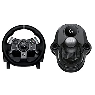 Logitech G920 Driving Force Volante de Cuero de Carreras y Pedales + Palanca de Cambio, Force Feedback, Aluminio Anodizado, 6 Velocidades, Pedales Ajustables, Enchufe UE, Xbox One/PC/Mac, Negro (B015CXCRVE) | Amazon price tracker / tracking, Amazon price history charts, Amazon price watches, Amazon price drop alerts