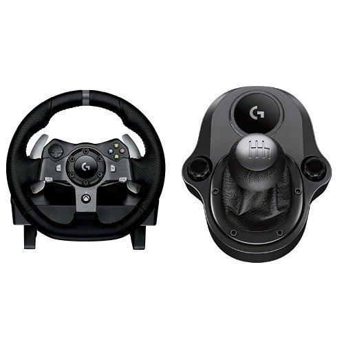 Logitech G G920 Volante y Pedales de Carrera, Force Feedback, para Xbox One, PC y MAC y Palanca de Cambio para Volante, 6 Velocidades, Marcha Atrás a Presion, Acero y Cuero auténtico