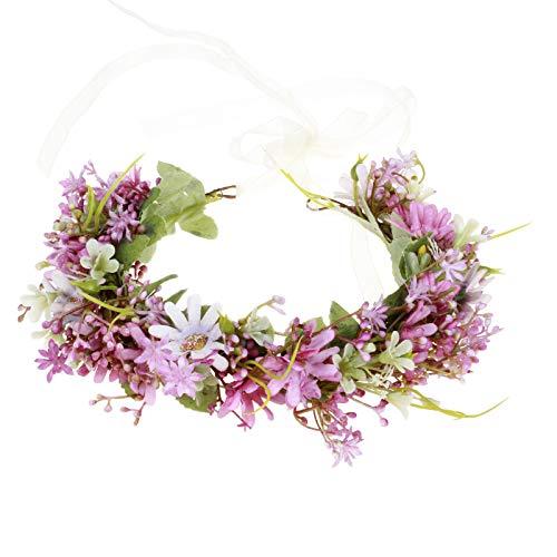 Daisy Flower Crown Floral Wreath Headband Hair Garland Flower Halo Headpiece with Ribbon Wedding Party Festival Photos Purple by Vivivalue
