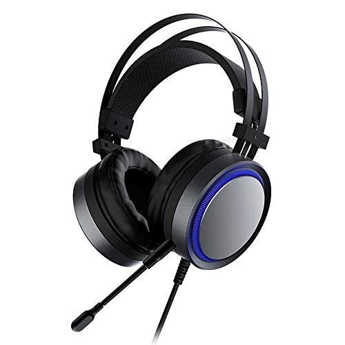 HLVU Gaming Headset Casque de Jeu USB Surround Sound Respirer LED 7.1 canaux Rétro-éclairage avec Microphone for Les Joueurs Professionnels Accessoires informatiques (Color : Black, Size : M)