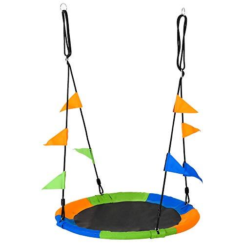 Outsunny Nestschaukel Tellerschaukel Kinderschaukel Gartenschaukel bis 80 kg belastbar für 3+ Jahre Metall Polyester Blau+Grün+Orange Ø100 cm