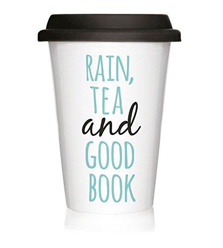 We Love Home - Taza de Porcelana con Tapa de Silicona Negra Take Away 40 cl. Estilo nórdico Modelo Rain & Tea