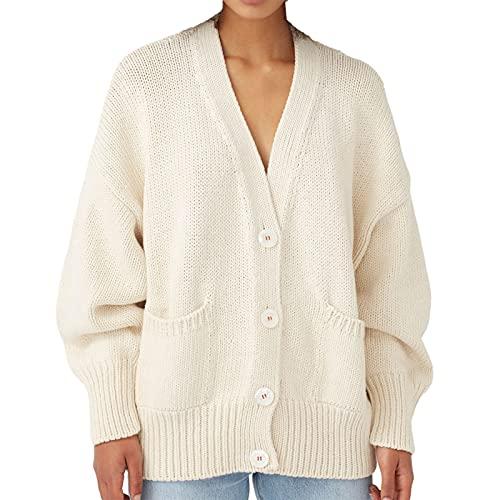 Kaenwang Mujeres 'sY2K cuello en V botón abajo manga larga suéter de punto suelto suéter Tops, blanco, XL
