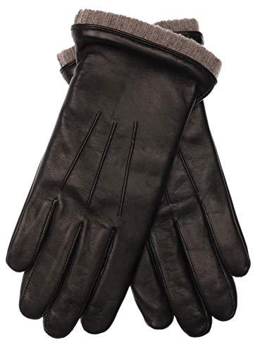 EEM Herren Leder Handschuhe BJOERN aus Lammnappaleder mit Strickstulpe und Fleecefutter; schwarz, S