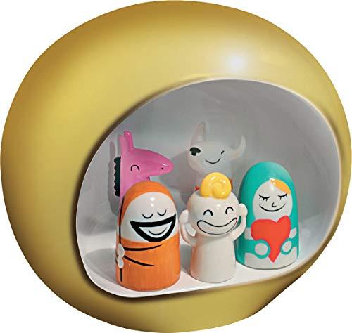 Alessi AMGI10 GD Pesebre de Diseño en Porcelana Decorada a Mano con Figuras de la Sagrada Familia, Dorado, 5 Piezas