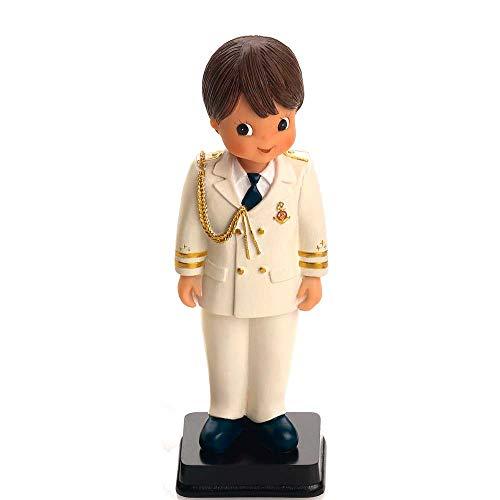 Figura para tarta de Comunión Almirante, niño traje en beig galones, cordón y botones dorados. Recuerdo de pastel de Primera Comunión chico.