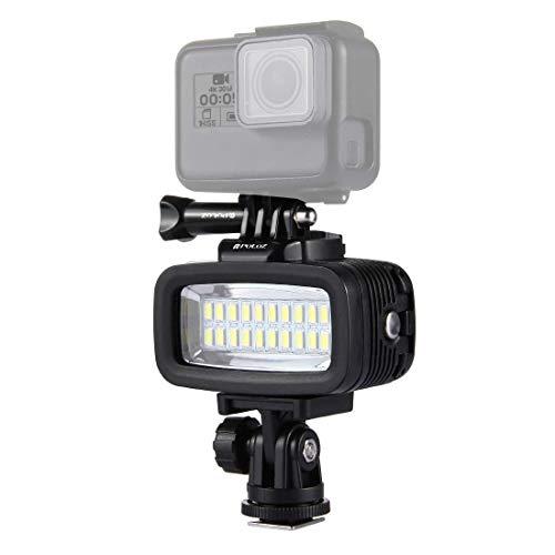 Linghuang IPX8 - Luz de Flash Impermeable (40 m, 20 ledes, para dji Osmo Action GoPro HERO5/4/3/2/1, con Adaptador y Zapata de Flash, Tornillo de Cierre rápido y 2 Placas de Filtro)