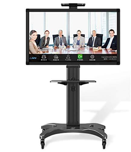 Liberación Carrito Móvil para TV De Aleación De Aluminio 1500-50-1P con Elevación Gratuita 32'-65' LED LCD Plasma TV Trolley Stand con Soporte para Cámara AV (Color : Black)